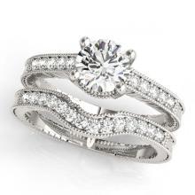 Lot 6115: 0.88 ctw VS/SI Diamond 2pc Wedding Set 14K White Gold - REF-114V5Y - SKU:31532