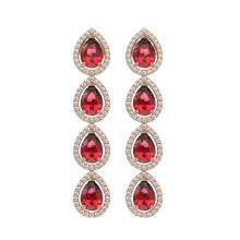Lot 6116: 7.88 ctw Tourmaline & Diamond Halo Earrings 10K Rose Gold - REF-200H2M - SKU:41157