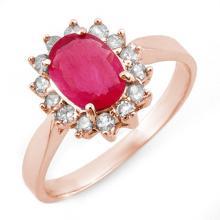 Lot 6138: 1.27 ctw Ruby & Diamond Ring 14K Rose Gold - REF-40F2N - SKU:10095