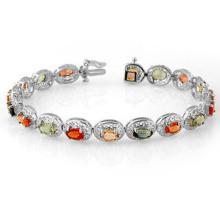 Lot 6158: 12.90 ctw Multi-Color Sapphire Bracelet 18K White Gold - REF-154X2R - SKU:11707
