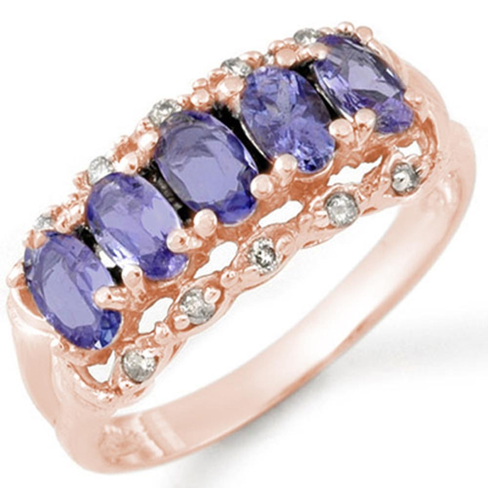 Lot 6162: 1.80 ctw Tanzanite & Diamond Ring 14K Rose Gold - REF-43K6W - SKU:10678