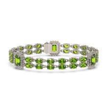 Lot 6166: 17.64 ctw Peridot & Diamond Bracelet 14K White Gold - REF-256W5H - SKU:45050