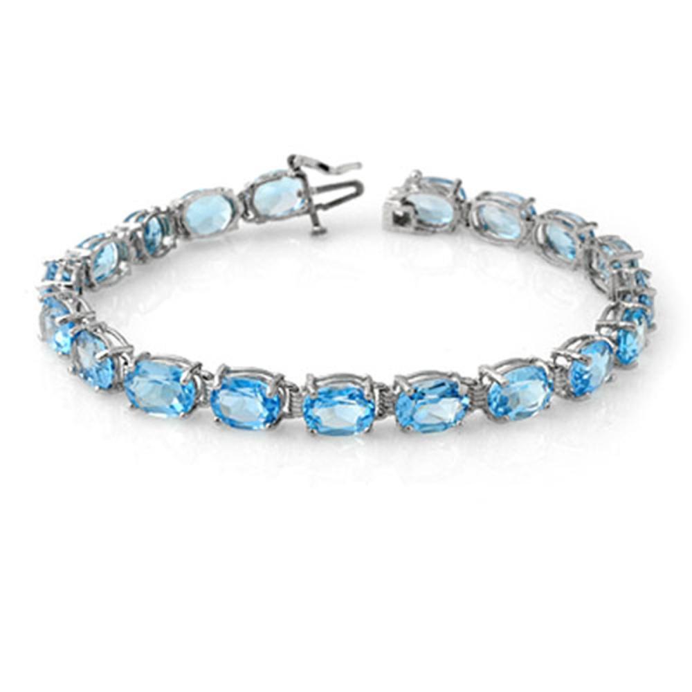 30.0 ctw Blue Topaz Bracelet 10K White Gold - REF-60Y2X - SKU:13355