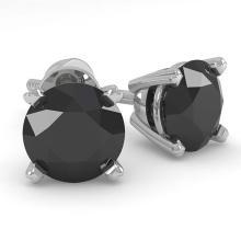 Lot 6188: 1.0 ctw Black Diamond Stud Earrings 18K White Gold - REF-34R4K - SKU:32268