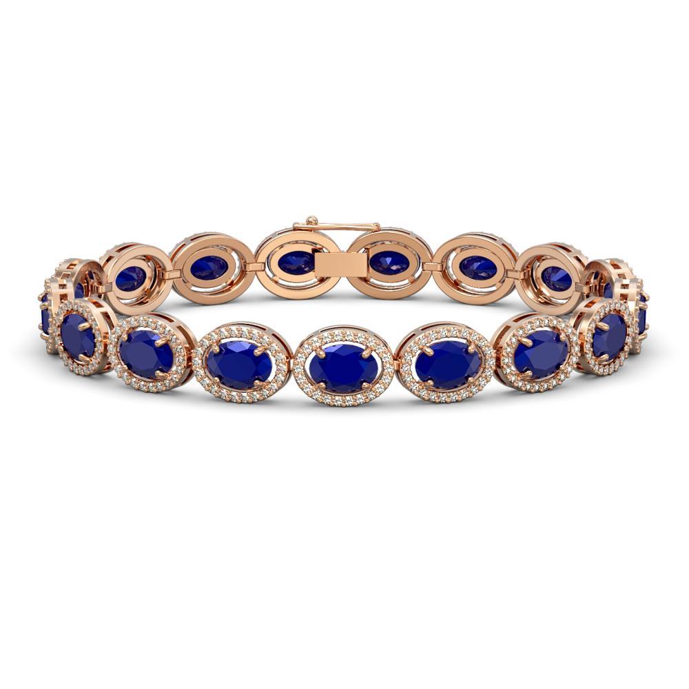22.89 ctw Sapphire & Diamond Halo Bracelet 10K Rose Gold - REF-291H5M - SKU:40608