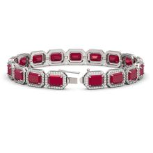 Lot 6008: 26.21 ctw Ruby & Diamond Halo Bracelet 10K White Gold - REF-347K8W - SKU:41381