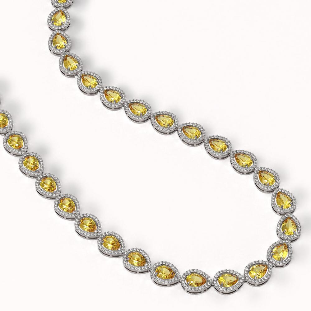 Lot 6013: 33.35 ctw Fancy Citrine & Diamond Halo Necklace 10K White Gold - REF-590N5A - SKU:41084