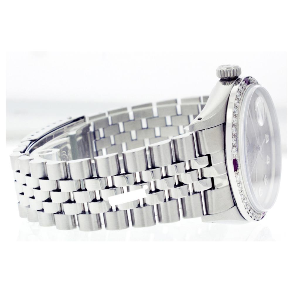 Lot 6011: Rolex Men's Stainless Steel, QuickSet, Diam Dial & Diam/Ruby Bezel - REF-521N7A