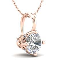 Lot 6024: 0.82 ctw VS/SI Diamond Solitaire Art Deco Stud Necklace 18K Rose Gold - REF-180F2N - SKU:37026