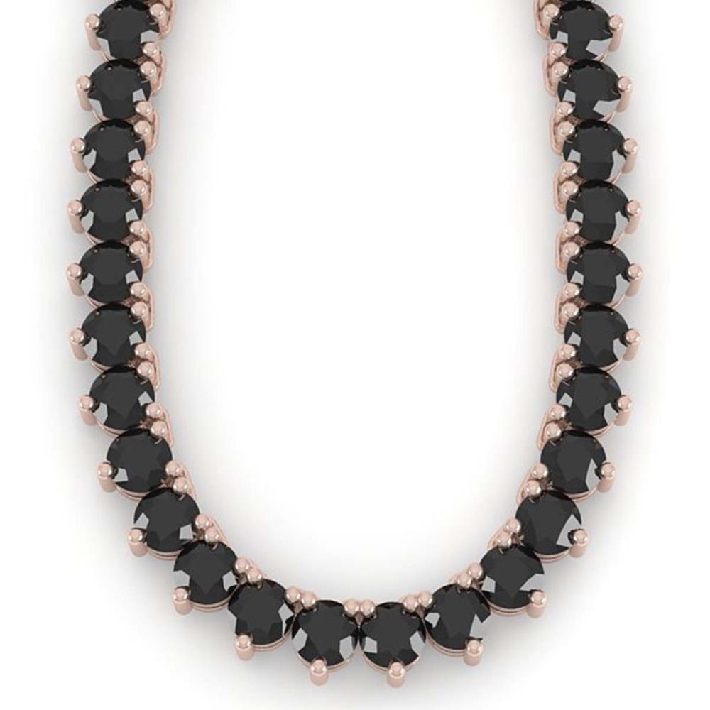 Lot 6027: 60 ctw 3 Prong Black Diamond Necklace 18K Rose Gold - REF-1757V5Y - SKU:36134