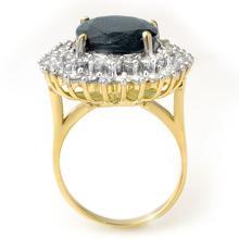 Lot 6029: 15.55 ctw Blue Sapphire & Diamond Ring 14K Yellow Gold - REF-236N4A - SKU:12991