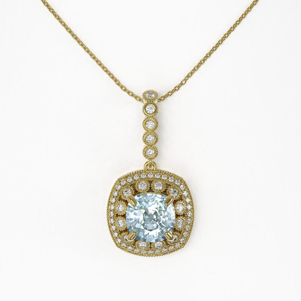 Lot 6030: 5.28 ctw Aquamarine & Diamond Necklace 14K Yellow Gold - REF-162H9M - SKU:44014