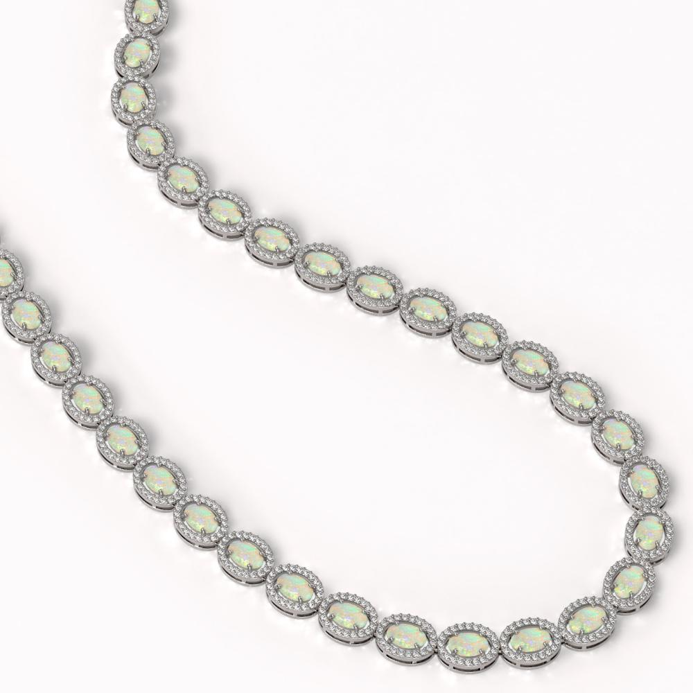 Lot 6033: 21.21 ctw Opal & Diamond Halo Necklace 10K White Gold - REF-581M8F - SKU:40415