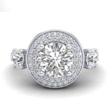 Lot 6037: 2.05 ctw VS/SI Diamond Solitaire Art Deco 3 Stone Ring 18K White Gold - REF-490X9R - SKU:37262