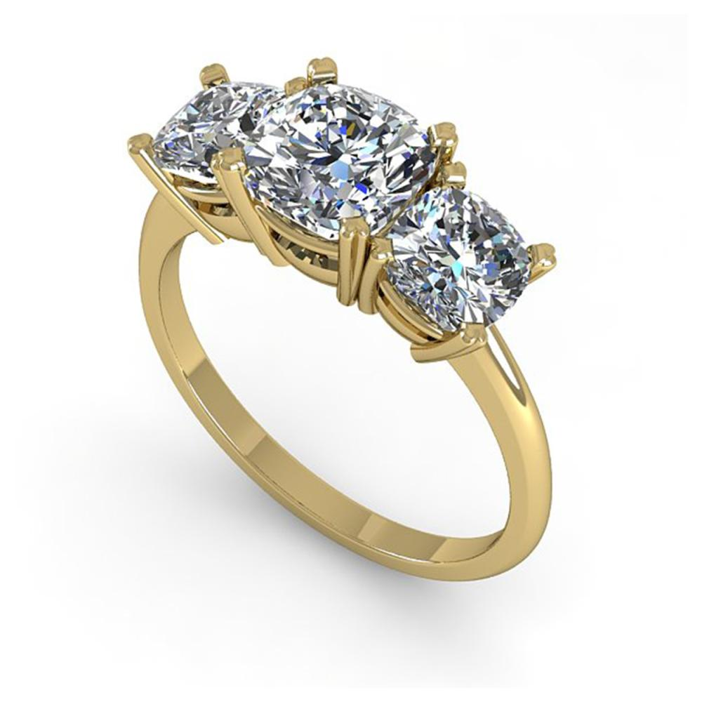 Lot 6050: 2.0 ctw VS/SI Cushion Diamond 3 Stone Ring 14K Yellow Gold - REF-395N7A - SKU:38504