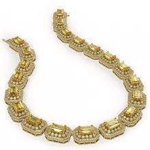 Lot 6061: 110.45 ctw Canary Citrine & Diamond Necklace 14K Yellow Gold - REF-2357R6K - SKU:43477