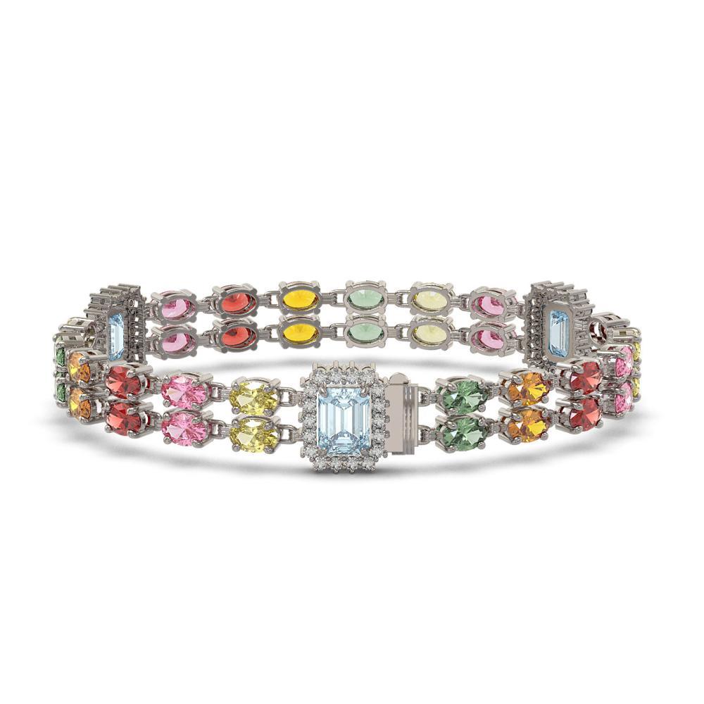 Lot 6072: 19.38 ctw Sapphire & Diamond Bracelet 14K White Gold - REF-288H4M - SKU:45071