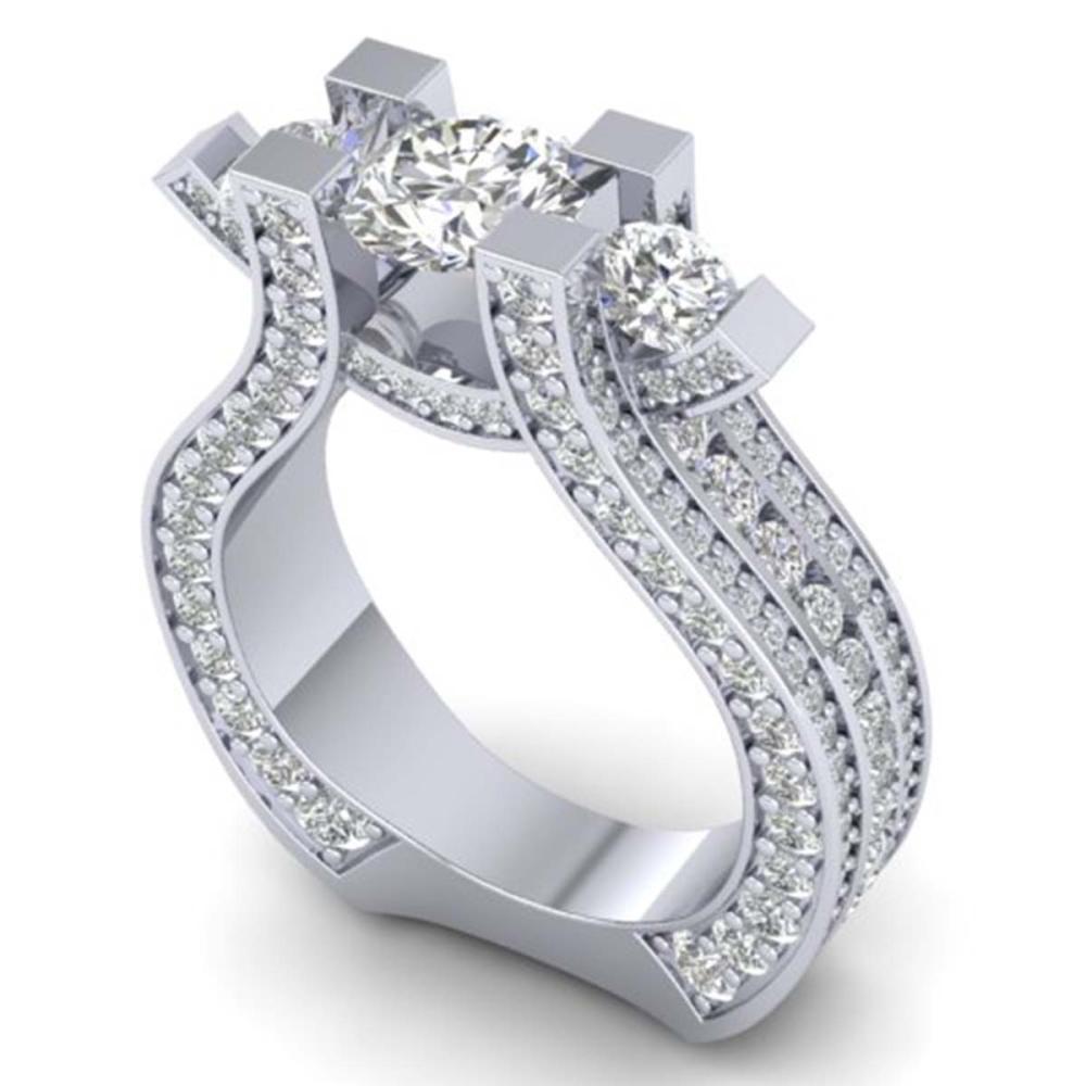 Lot 6082: 5.5 ctw VS/SI Diamond Art Deco 3 Stone Ring 14K White Gold - REF-559M3F - SKU:30294