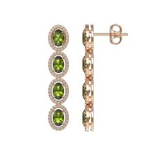 Lot 6085: 5.88 ctw Tourmaline & Diamond Halo Earrings 10K Rose Gold - REF-125M5F - SKU:40524