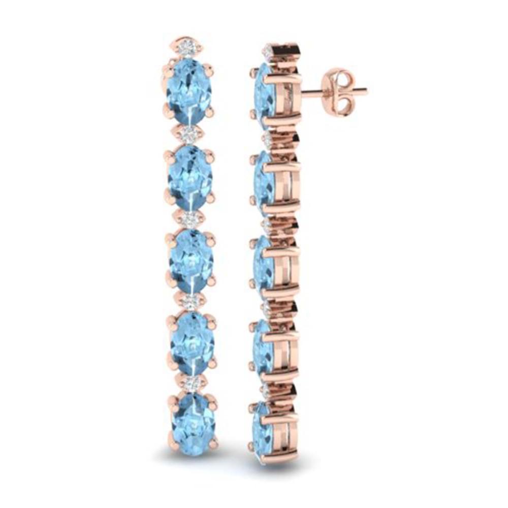 Lot 6095: 8.36 ctw Aquamarine & VS/SI Diamond Earrings 10K Rose Gold - REF-91H3M - SKU:29389