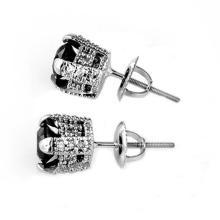 Lot 6102: 1.0 ctw VS Black & White Diamond Earrings 18K White Gold - REF-50V4Y - SKU:11801