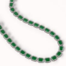 Lot 6103: 58.59 ctw Emerald & Diamond Halo Necklace 10K White Gold - REF-824H4M - SKU:41330