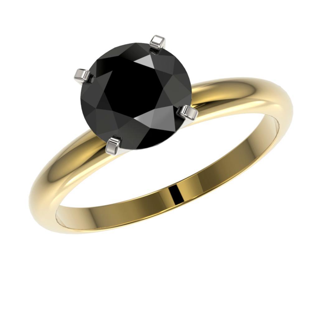 Lot 6110: 2.09 ctw Fancy Black Diamond Solitaire Ring 10K Yellow Gold - REF-58X5R - SKU:36454