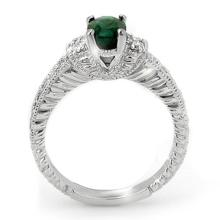 Lot 6119: 1.60 ctw Emerald & Diamond Ring 18K White Gold - REF-81A3V - SKU:14202