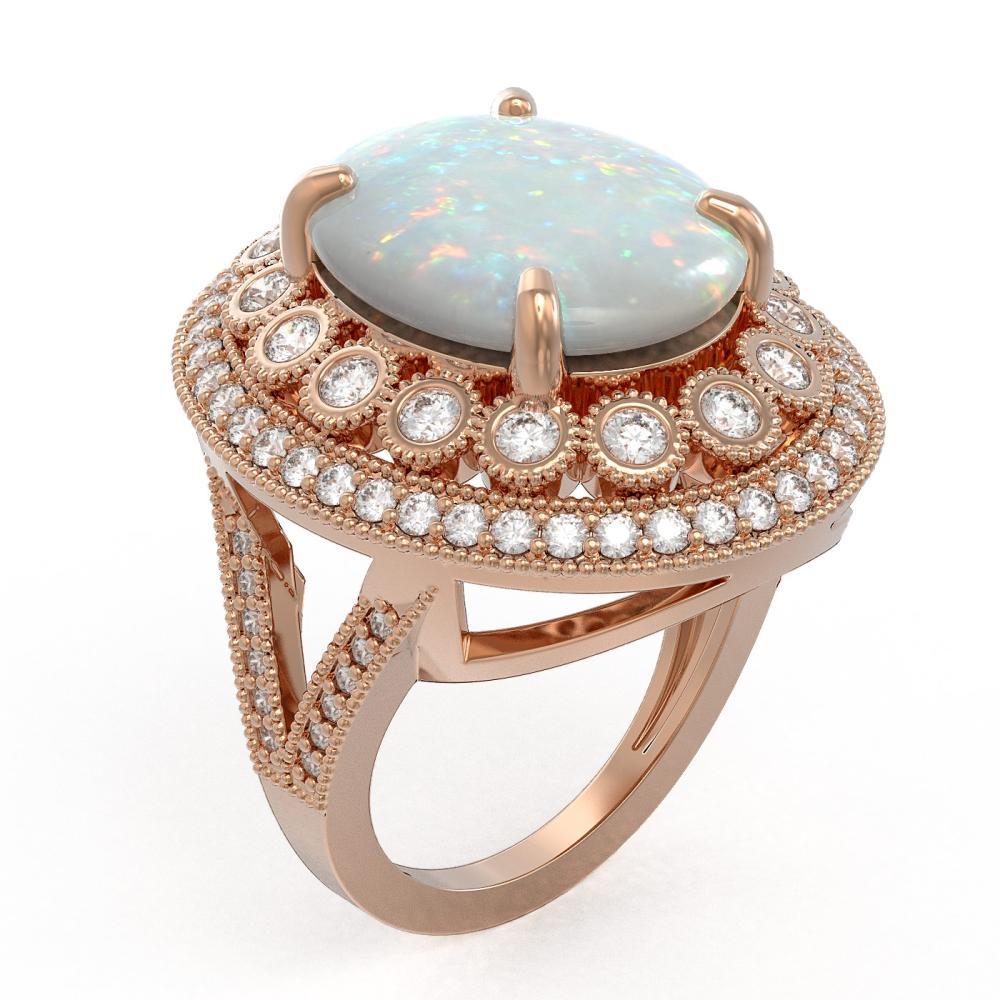 Lot 6120: 9.48 ctw Opal & Diamond Ring 14K Rose Gold - REF-293V3Y - SKU:43857