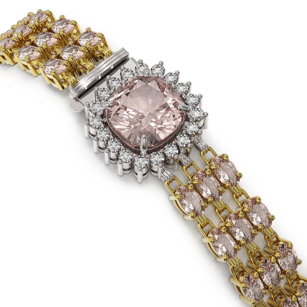 Lot 6123: 27.48 ctw Morganite & Diamond Bracelet 14K Yellow Gold - REF-402R9K - SKU:45892