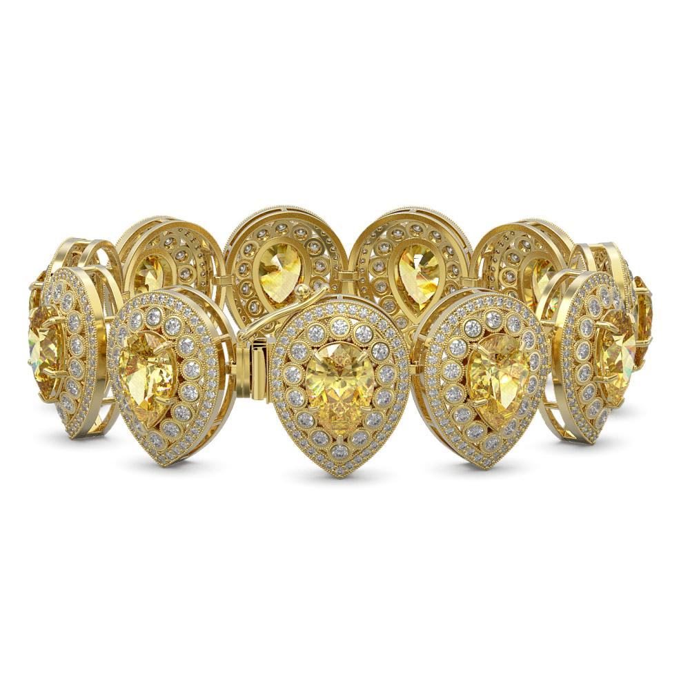 Lot 6127: 46.44 ctw Canary Citrine & Diamond Bracelet 14K Yellow Gold - REF-1328F2N - SKU:43270