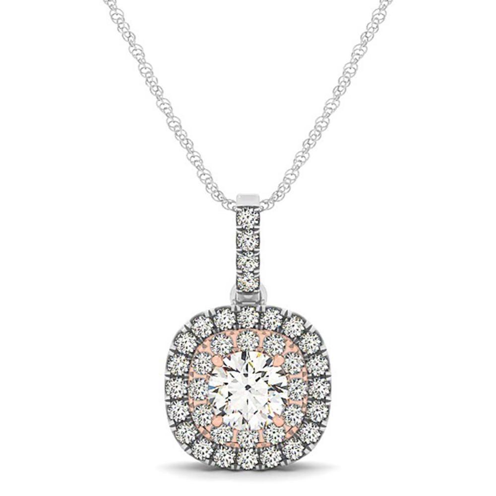Lot 6132: 1.15 ctw SI Diamond Halo Necklace 14K White & Rose Gold - REF-187H6M - SKU:29962