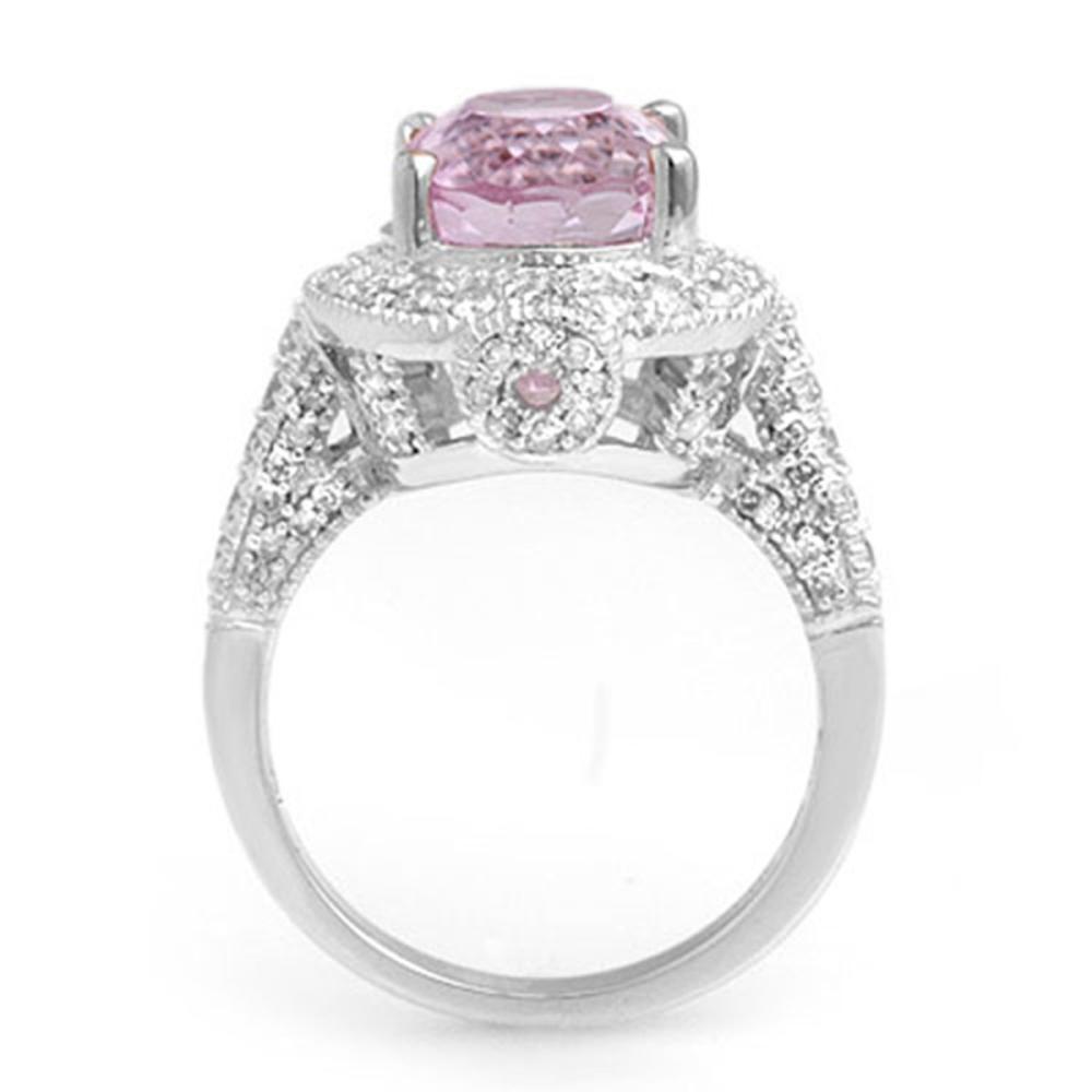Lot 6136: 7.0 ctw Kunzite & Diamond Ring 14K White Gold - REF-128K2W - SKU:11071