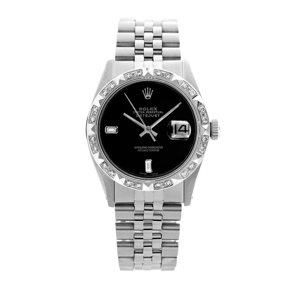 Lot 6146: Rolex Ladies Stainless Steel, Diam Dial with Pyrimid Diam Bezel, Sapphire Crystal - REF-395K2T