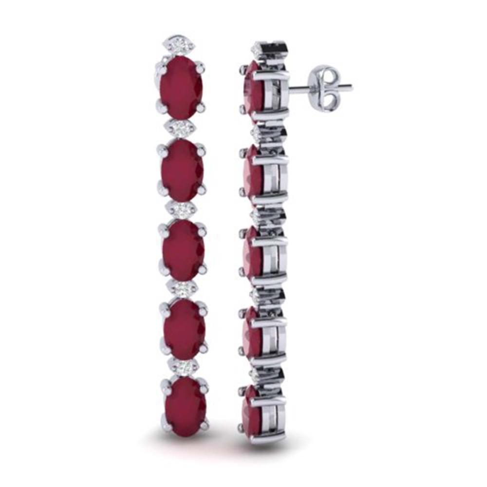 Lot 6152: 12.36 ctw Ruby & VS/SI Diamond Tennis Earrings 10K White Gold - REF-89X3R - SKU:29403