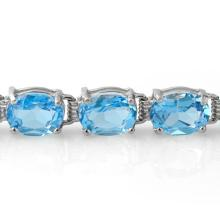 Lot 6167: 30.0 ctw Blue Topaz Bracelet 10K White Gold - REF-60Y2X - SKU:13355