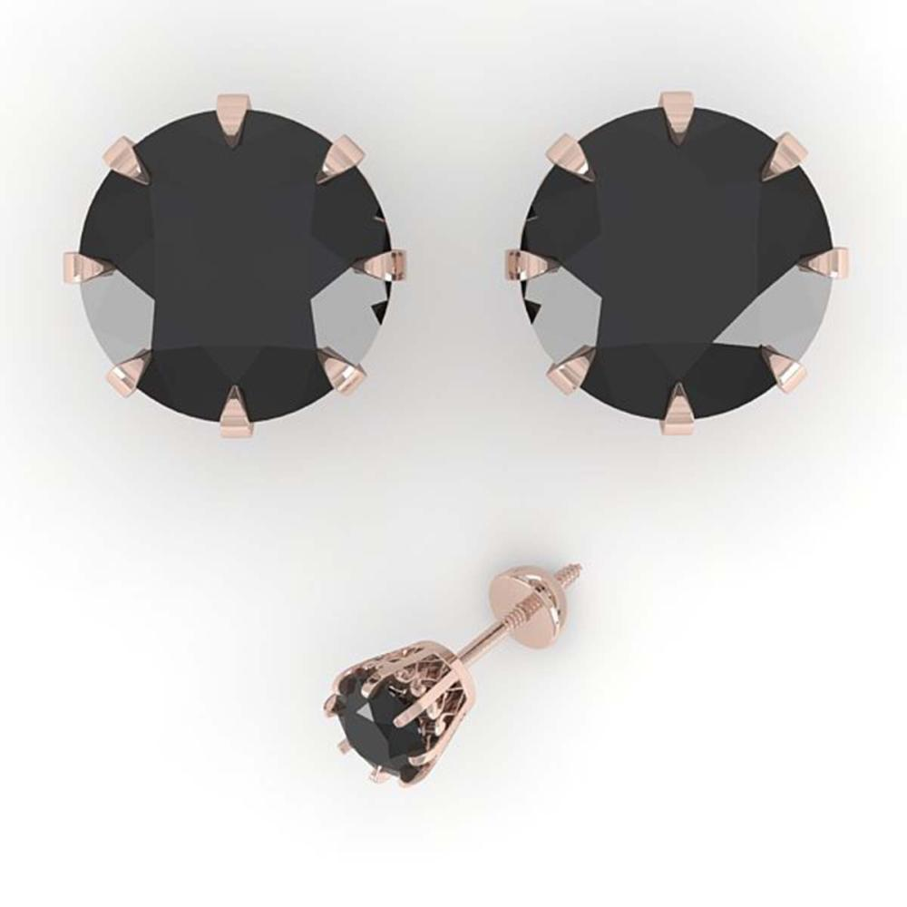 Lot 6172: 4.0 ctw Black Diamond Stud Solitaire Earrings 18K Rose Gold - REF-127V5Y - SKU:35708