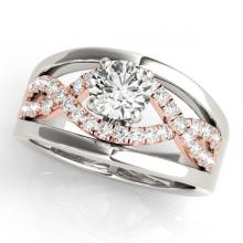 Lot 6178: 1.29 ctw VS/SI Diamond Solitaire 2pc Set 14K White & Rose Gold - REF-176X4R - SKU:31946