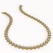 Lot 6184: 21.69 ctw Cushion Diamond Necklace 18K Yellow Gold - REF-1831Y4X - SKU:43102