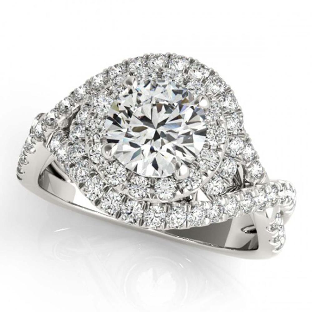Lot 6187: 1.76 ctw VS/SI Diamond 2pc Wedding Set Halo 14K White Gold - REF-188F5N - SKU:31031