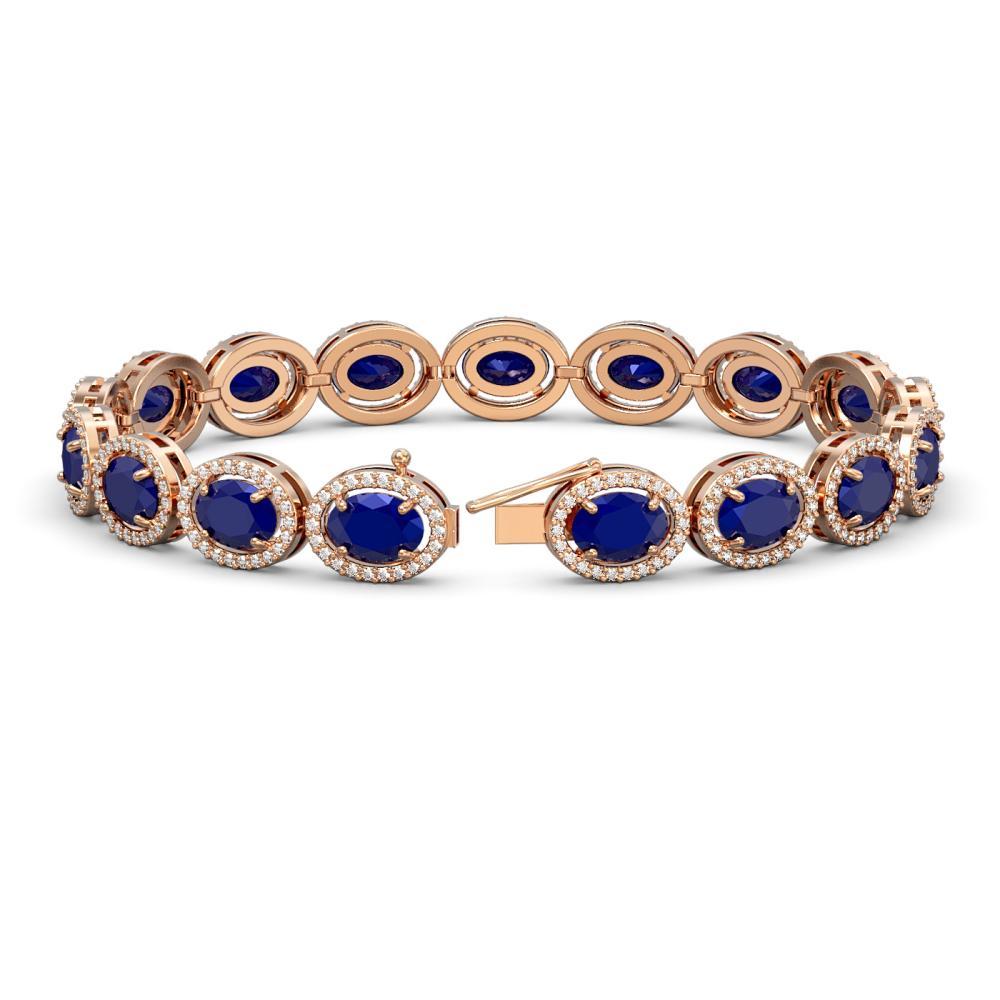Lot 6189: 22.89 ctw Sapphire & Diamond Halo Bracelet 10K Rose Gold - REF-291H5M - SKU:40608