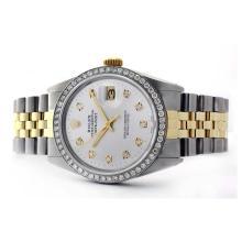 Lot 6191: Rolex Ladies Two Tone 14K Gold/SS, Diamond Dial & Diamond Bezel, Sapphire Crystal - REF-434A7N