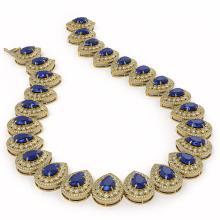 Lot 6192: 121.42 ctw Sapphire & Diamond Necklace 14K Yellow Gold - REF-3331V5Y - SKU:43234
