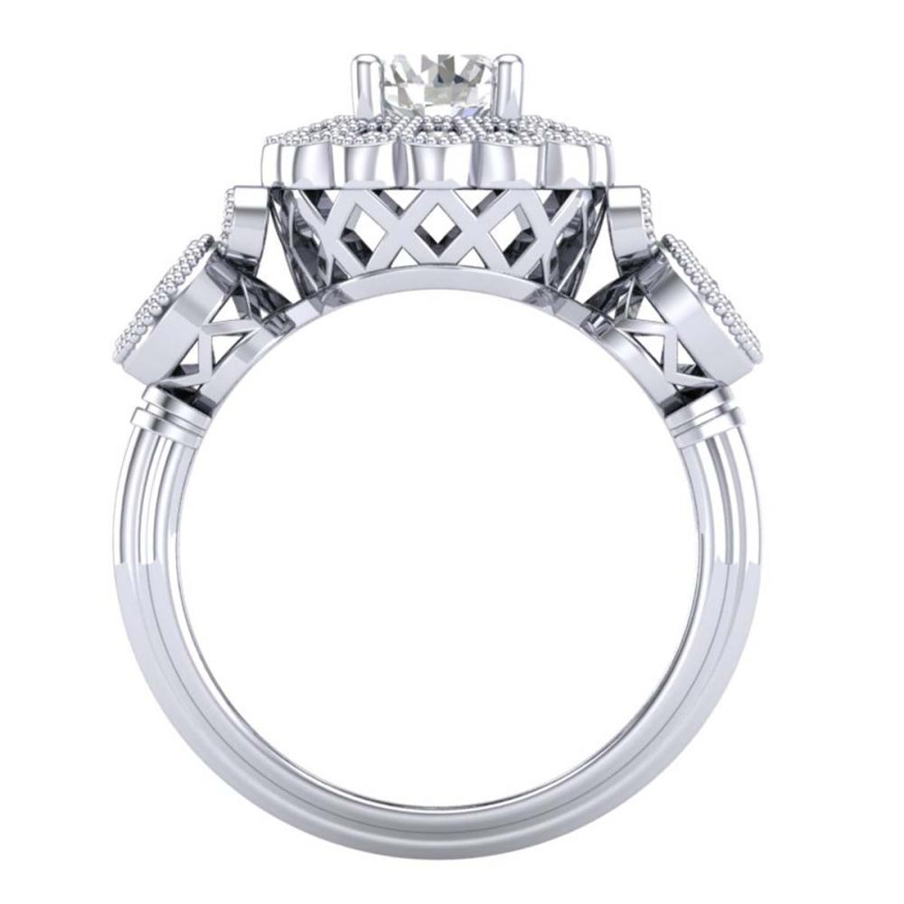 Lot 6018: 1.50 ctw VS/SI Diamond Solitaire Art Deco 3 Stone Ring 18K White Gold - REF-300W2H - SKU:37058