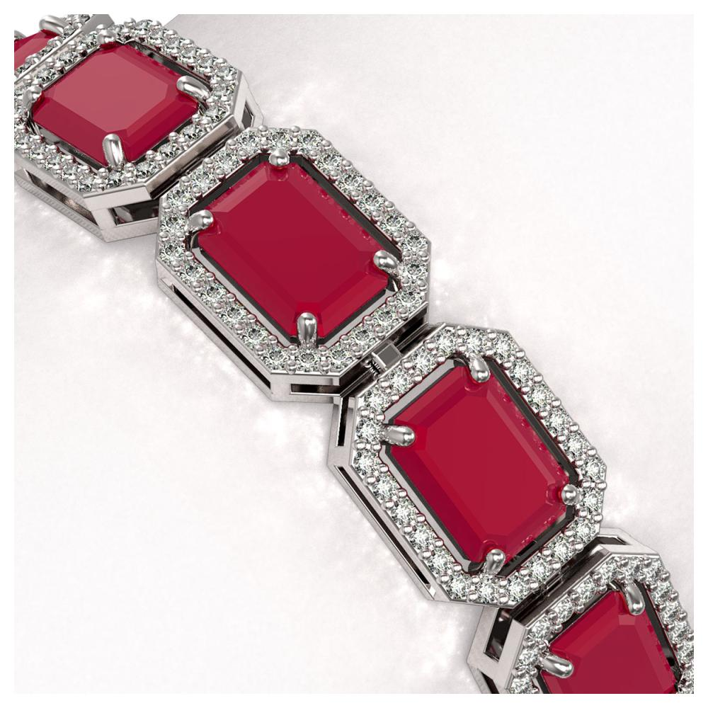 Lot 6008: 26.21 ctw Ruby & Diamond Halo Bracelet 10K White Gold - REF-347K8W - SKU:41381