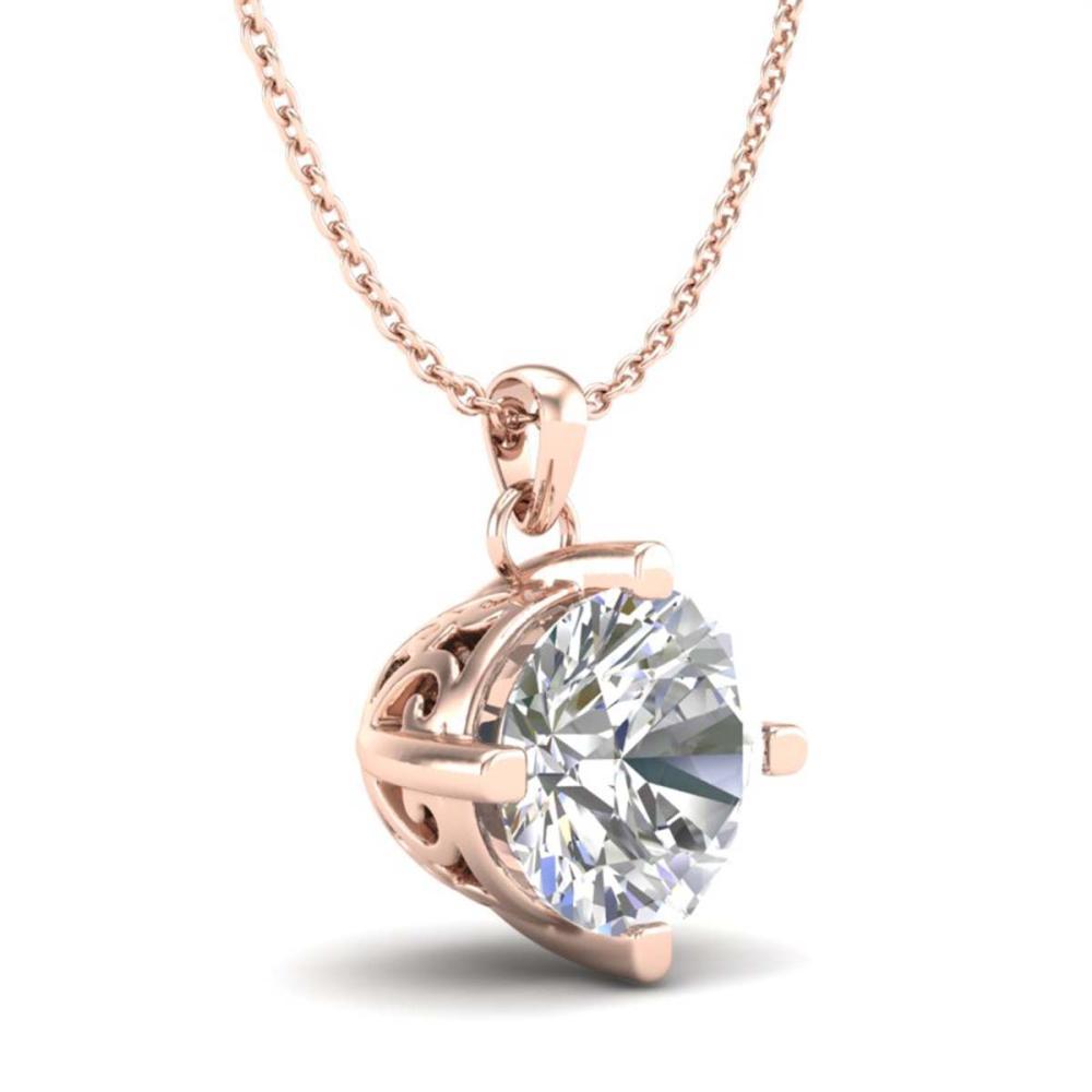 Lot 6021: 1 ctw VS/SI Diamond Solitaire Art Deco Stud Necklace 18K Rose Gold - REF-285K2W - SKU:37233