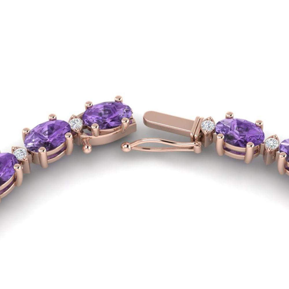 Lot 6022: 61.85 ctw Amethyst & VS/SI Diamond Eternity Necklace 10K Rose Gold - REF-275W8H - SKU:29498