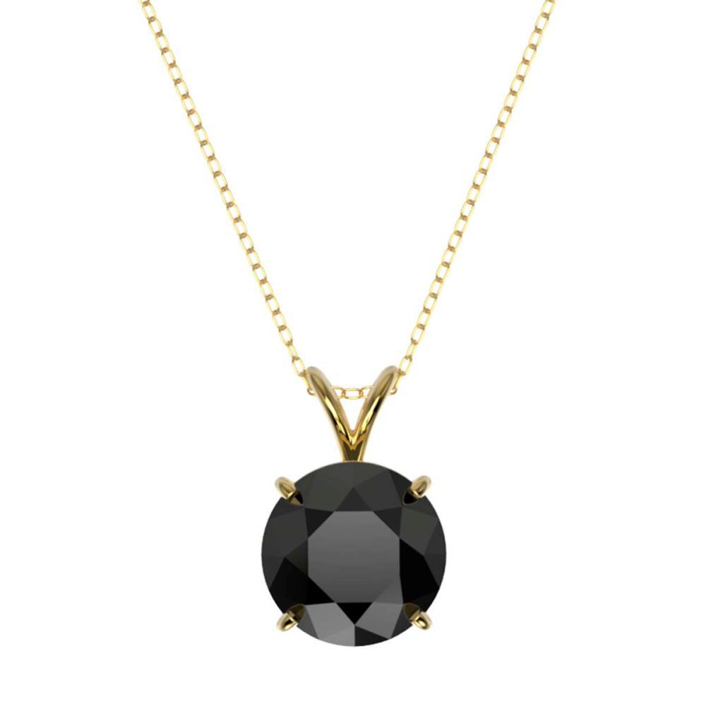 Lot 6026: 2.50 ctw Fancy Black Diamond Solitaire Necklace 10K Yellow Gold - REF-73V5Y - SKU:33245