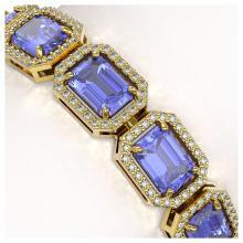 Lot 6028: 25.36 ctw Tanzanite & Diamond Halo Bracelet 10K Yellow Gold - REF-636W4H - SKU:41389