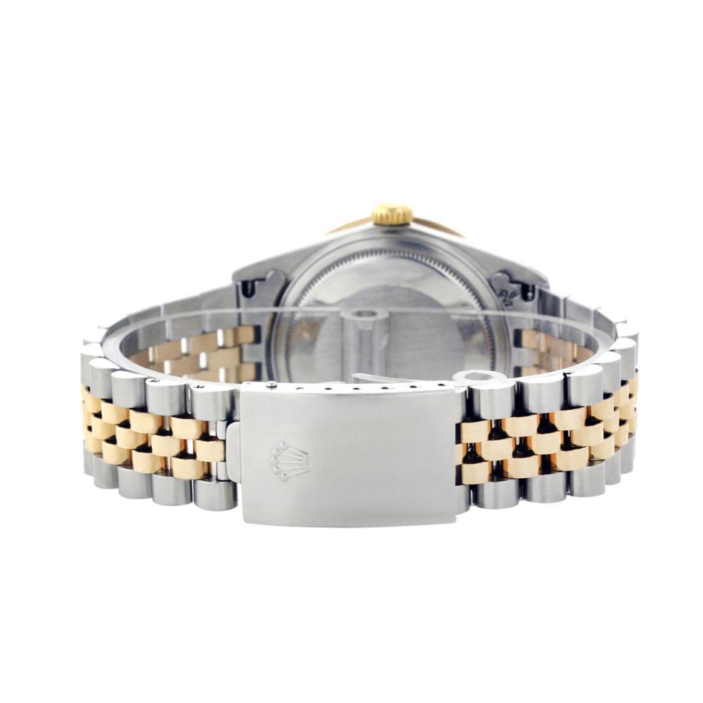 Lot 6055: Rolex Men's Two Tone 14K Gold/SS, QuickSet, Diamond Dial & Diamond Bezel - REF-557K7T